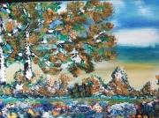 tableau paysages aurore sur barriere paysage encadre : aurore sur barrière