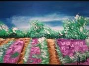 tableau paysages lavande paysage encadre figuratif violet : lavande