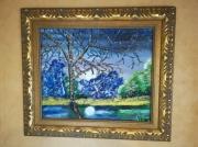tableau paysages lune reflet dans l eau paysage encadre figuratif : lune  reflet dans l'eau