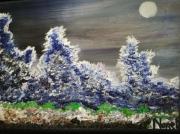 tableau paysages lune sur arbres bleus paysage encadre figuratif : lune sur arbres bleus