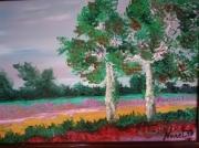 tableau paysages les deux arbres paysage encadre : les deux arbres