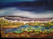 tableau paysages colline au ciel bleu paysage encadre figuratif : COLLINE AU CIEL BLEU