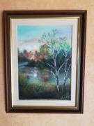 tableau paysages pastel lever de soleil sur arbres morts paysage : pastel : lever de soleil sur arbres morts
