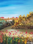 tableau paysages canal oleron paysage encadre figuratif : canal  oléron