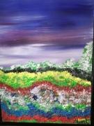 tableau paysages herbes multicolores paysage encadre figuratif : HERBES  MULTICOLORES