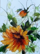 tableau fleurs aquarelle abby fleurs watercolor : Aquafeutre 12