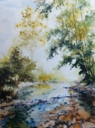 tableau paysages aquarelle abby paysage riviere : Balade 5