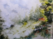 tableau paysages aquarelle abby paysage watercolor : balade n°4