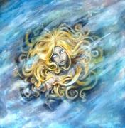 tableau : Sirène bleue au fond