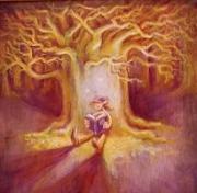 tableau personnages arbre lutin lecture chene : Lutin sous le chêne