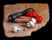 tableau nature morte courgettes tomates carottes champignons : Courgettes, champignons et carottes