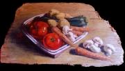 tableau : Cougettes, champignons, carottes, patates et tomates