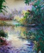 painting paysages galerie art decoration cadre comtemporain art tableaux : Reflets sur l'étang