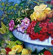 tableau fleurs flowers galerie crea painting artiste fig comtemporain art tableaux : La jardinière