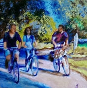 tableau sport velo ballade decoration cadre comtemporain art galerie toiles : Les cyclistes au Touquet