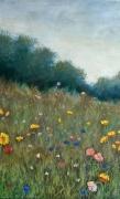 tableau paysages galerie art painting artiste fig comtemporain art tableaux : Prairie fleurie