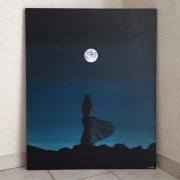 tableau paysages lune femme noir ombre : Lune dans l'ombre