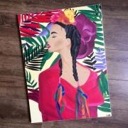 tableau personnages femme feuillage fleurs colore : Confiance et bien-être