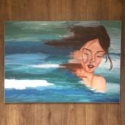 tableau personnages femme abstrait identite bleu : Identité qui part