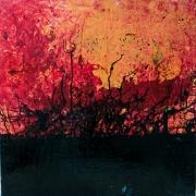painting abstrait couleur abstrait rouge noir : Le Feu dans la Forêt