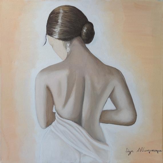 TABLEAU PEINTURE Femme nue chignon Nus Peinture a l'huile  - La fille au Chignon