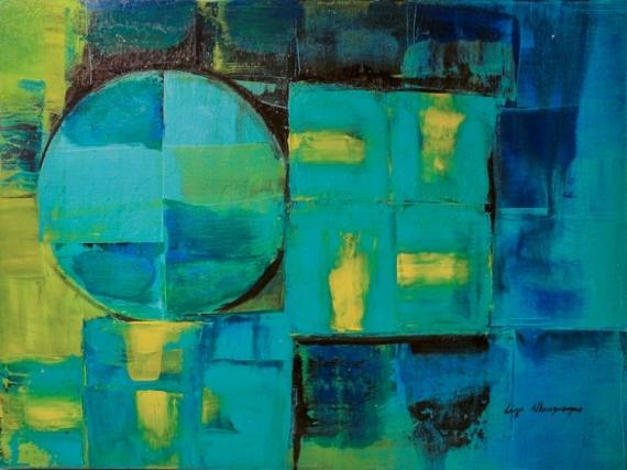 TABLEAU PEINTURE Formes Ronde Carre bleu Abstrait Acrylique  - Formas