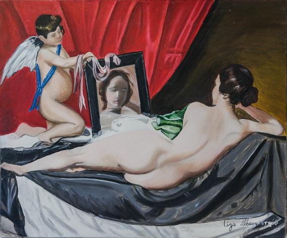 TABLEAU PEINTURE Venus miroir nue Nus Peinture a l'huile  - La venus au miroir
