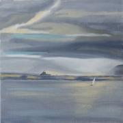 painting paysages lac geneve nuageux : Le Lac de Genève