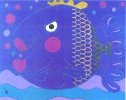 tableau animaux poisson animaux enfants cadeaux : Les flots bleus