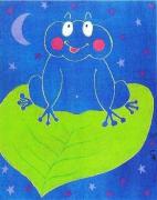 tableau animaux grenouille animaux enfants cadeaux : Clair de lune