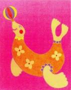 tableau animaux otarie animaux enfants cadeaux : Mademoiselle joue