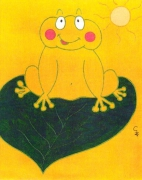 tableau animaux grenouille animaux enfants cadeaux : Sous le soleil!