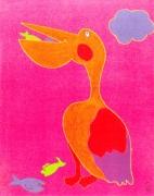 tableau animaux pelikan animaux enfants cadeaux : Un petit creux...