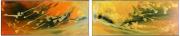 tableau abstrait diptyque abstrait jaune yellow : Fission