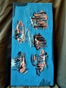 tableau abstrait tableau abstrait decoration bleu : Des îles