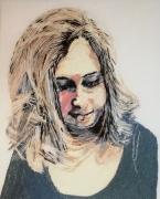 tableau autres portrait broderie : Portrait de la jeune fille au pull bleu