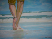 tableau : Le randonneur de la plage