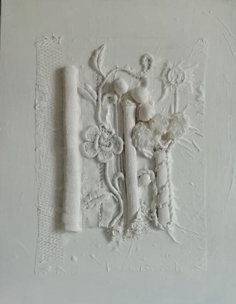 TABLEAU PEINTURE Collage-acrylique-blanc Abstrait Collage  - White is white