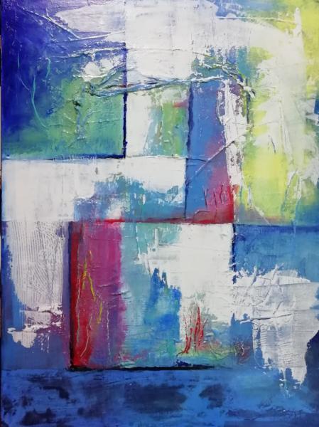 TABLEAU PEINTURE bleu abbysses lumière Abstrait Acrylique  - Abysses