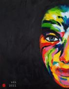 tableau personnages visage femme couleurs : 2021N11