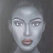tableau personnages femme visage portrait noir et blanc : Femme 2
