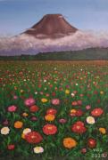 tableau paysages fleurs paysages volcan : Volcan