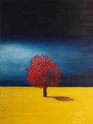 tableau paysages arbre bleu jaune champ : 2021N12