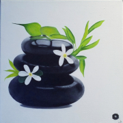 tableau fleurs fleurs galets : Galet 1