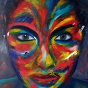 tableau personnages portrait visage femme couleurs : Femme 3