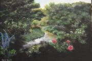 tableau paysages noir fleurs lumiere : Le Jardin