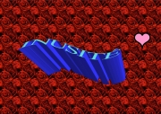 art numerique abstrait cadeau rose amant rouge : En plein coeur