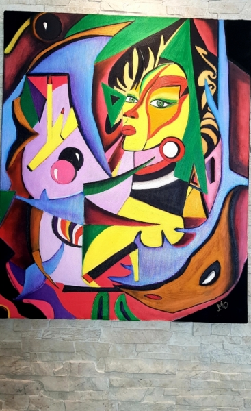 TABLEAU PEINTURE La Belle Africaine Abstrait Peinture a l'huile  - La belle africaine