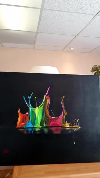 TABLEAU PEINTURE Les Gouttes Fluos Abstrait Peinture a l'huile  - Les gouttes fluos