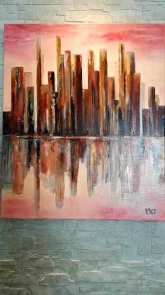 TABLEAU PEINTURE Manhattan Un matin Abstrait Acrylique  - Manhattan